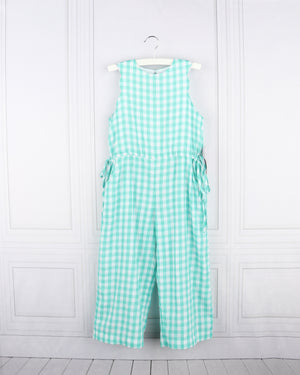 Gabby- Turquoise Gingham Jumpsuit
