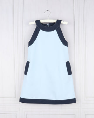 Gabby- Blue Pique Cruise Shift Dress