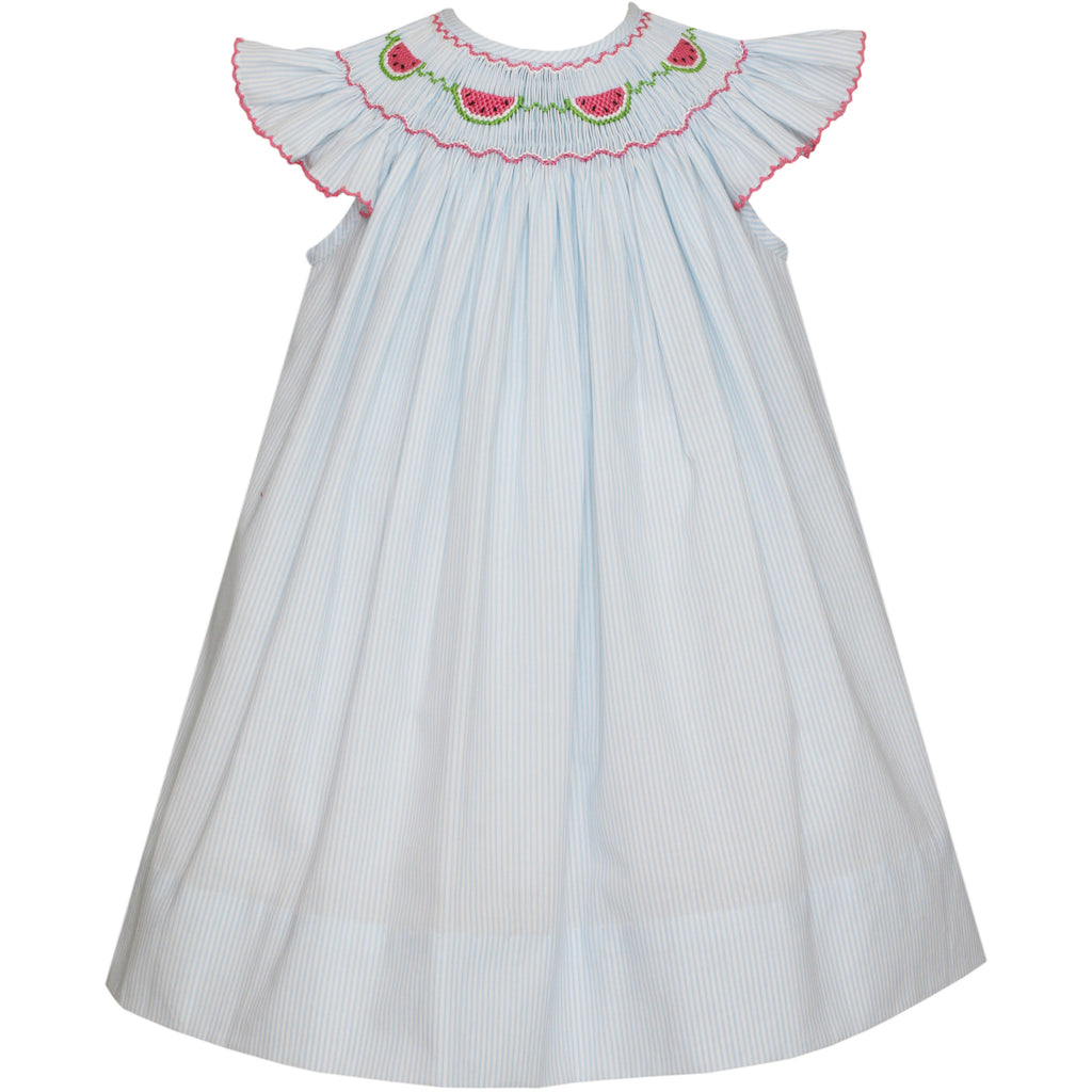 Petit Bebe- Watermelon Lt Blue Stripe Angel Wing Bishop