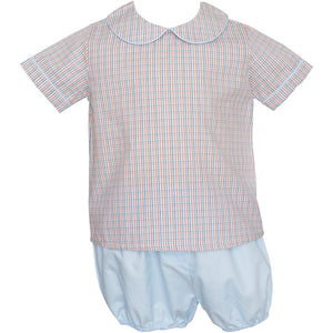 Petit Bebe- Blue/Red Plaid Diaper Set