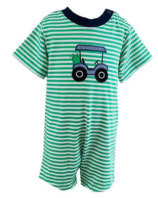 Tara Collection- Golf Cart Applique Boy's Romper