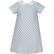 Claire & Charlie- Blue Gingham Collared A-line Dress