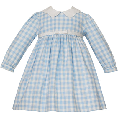 Claire & Charlie- Blue Gingham Collared Dress
