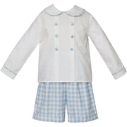 Claire & Charlie- Blue Gingham Dresy Short Set