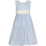 Claire & Charlie- Lt Blue Check Sleeveless Dress w/Embroidered Sash