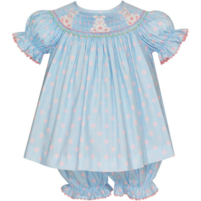 Anavini- Bunny Lt Blue w/Pink Dots Bishop Bloomer Set