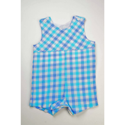 Funtasia Too- Aqua/ Blue Check Shortall