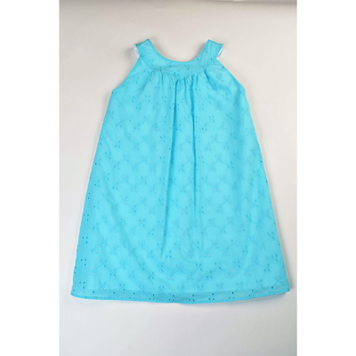 Maggie Breen- Turquoise Eyelet Band Dress