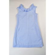 Maggie Breen- Blue Check V Back Dress