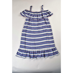 Maggie Breen- Blue/Pink Stripe Ruffled Shoulder Dress