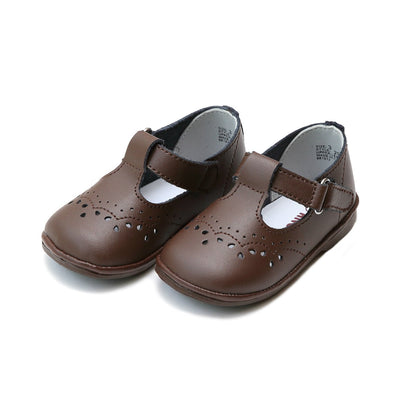 Angel Baby Girls Leather T-Strap Mary Janes in Brown