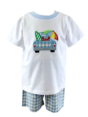 Tara Collection- Pickup Truck Applique Boy's Short Set