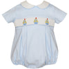Petit Bebe- Sailboats Lt Blue Knit Boy's Bubble w/Collar