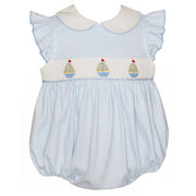 Petit Bebe- Sailboats Lt Blue Knit Girl's Ruffle Bubble