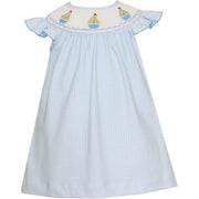 Petit Bebe- Sailboats Lt Blue Knit Angel Wing Bishop