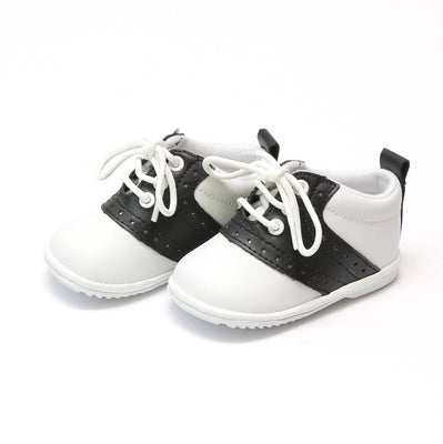 Angel Baby White/Black Leather Lace Up Oxfords