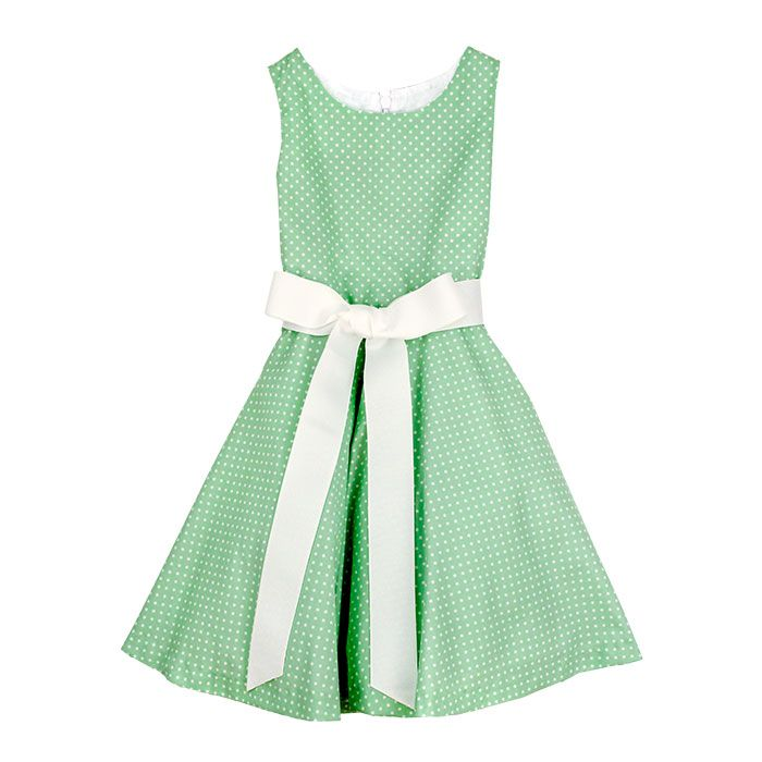 Bailey Boys- Flirty Green Dot Dress