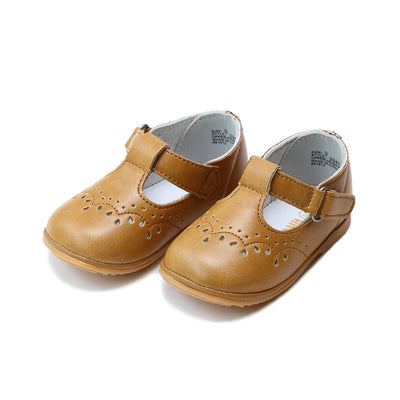 Angel Baby Girls Leather T-Strap Mary Janes in Mustard