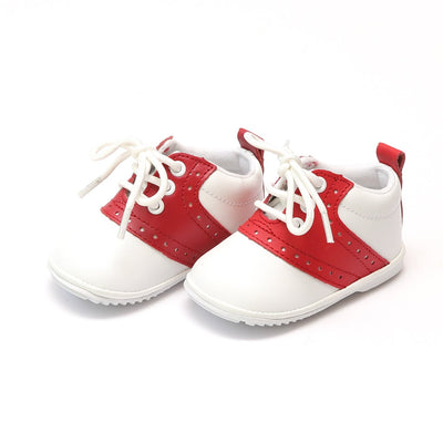 Angel Baby White/Red Leather Lace Up Oxfords
