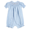 Baby Bliss- Blue Stripes Smocked Pima Bishop Bubble