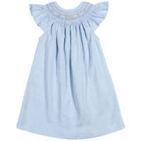 Baby Bliss- Blue Stripes Smocked Pima Bishop