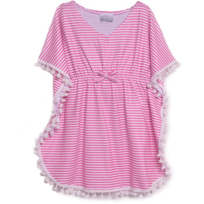 Flap Happy- Pink Preppy Stripe Coverup w/UPF 50+