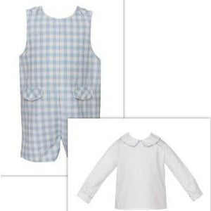 Claire & Charlie- Blue Gingham Shortall w/Matching Shirt