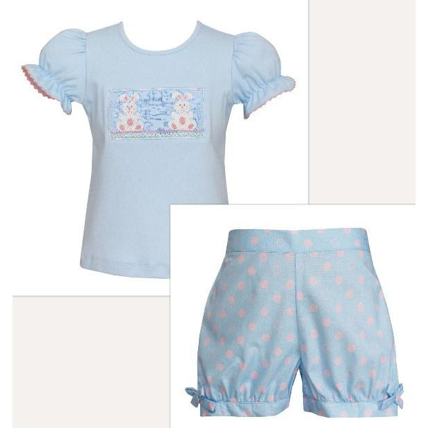 Anavini- Bunny Lt Blue w/Pink Dots Bubble Short Set