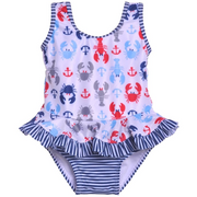 Flap Happy- Crabby Lobster Infant Ruffle Swimsuit w/Snaps UPF 50+