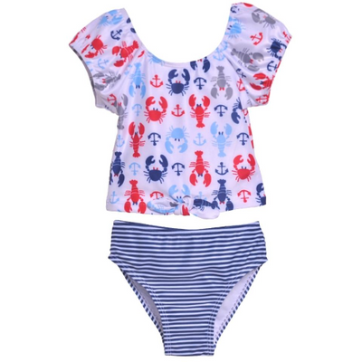 Flap Happy- Crabby Lobster 2PC Front Tie Swimsuit w/UPF 50+