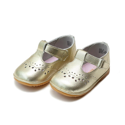 Angel Baby Girls Leather T-Strap Mary Janes in Gold