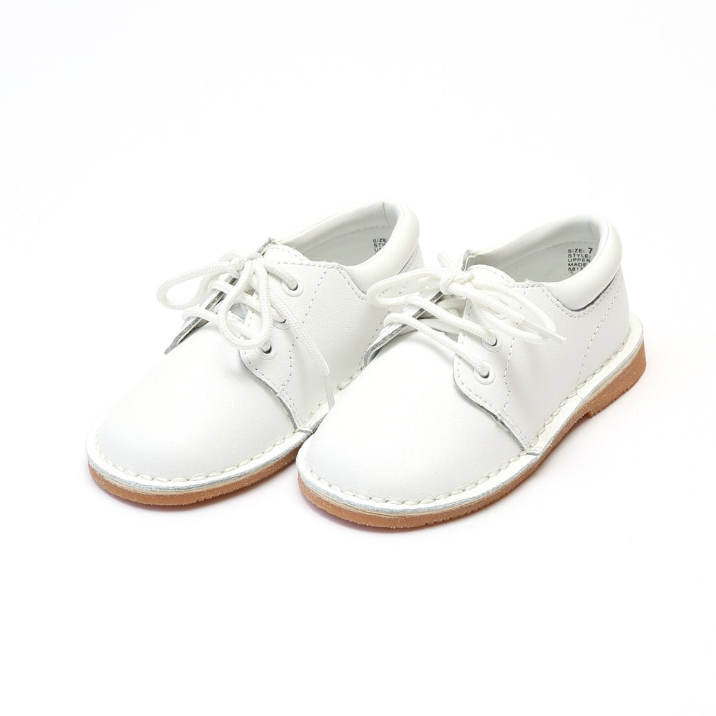 L'amour Boys White Leather Lace Up Shoes