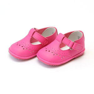 Angel Baby Girls Fuchsia Leather T-Strap Mary Janes