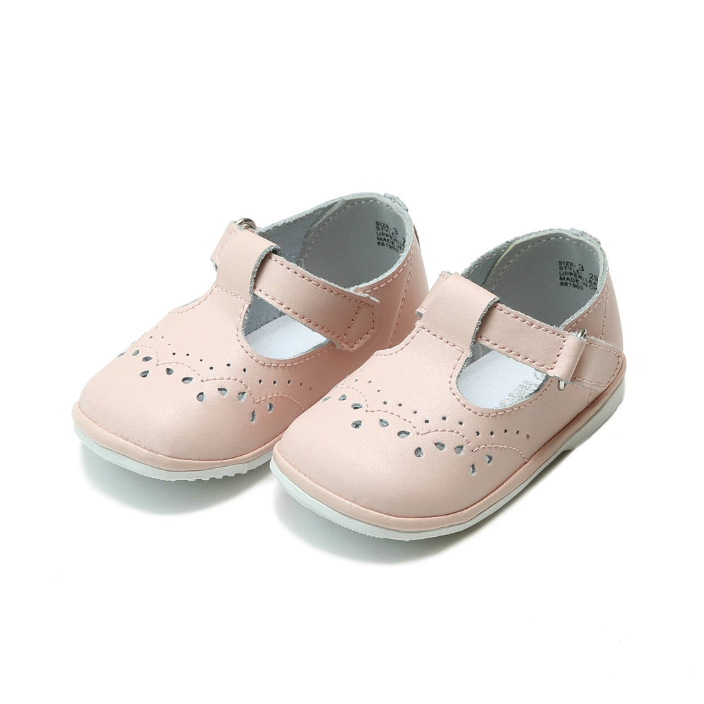 Angel Baby Girls Leather T-Strap Mary Janes in Lt Pink