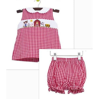 Zuccini- Farm Smocked Red Gingham Bloomer Set