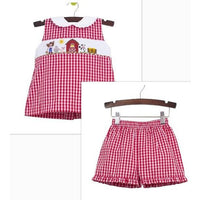 Zuccini- Farm Smocked Red Gingham Short Set