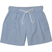 Monday's Child- Lt Blue Check Seersucker Swimtrunk