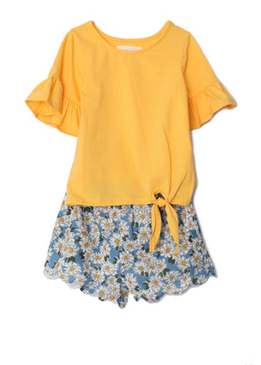 Mabel & Honey- Sunshinin' Daisies Yellow Short Set
