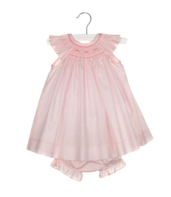Luli & Me- 3 Pc Pink Smocked Bishop w/Ribbons