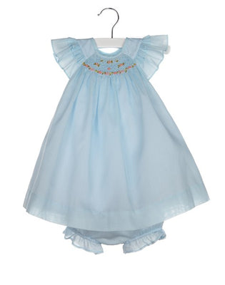 Luli & Me- 3PC Blue Organdy Smocked Bishop w/ Bonnet