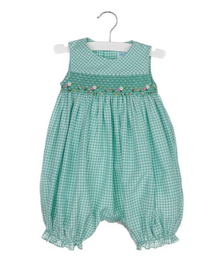 Luli & Me- Green Check Smocked Bubble