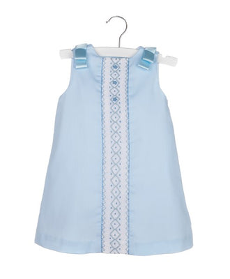 Luli & Me- Blue Aline Dress w/Smocked Insert
