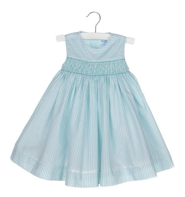 Luli & Me- Aqua Stripe Smocked Dress