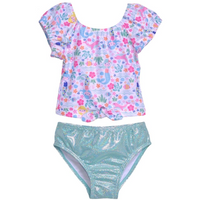 Flap Happy- Mermaid Lagoon 2PC Tie Front Swimsuit w/UPF50+