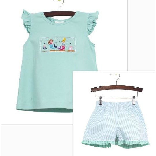 Zuccini- Mermaids Smocked Short Set