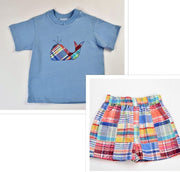 Funtasia Too- Pastel Patchwork Whale Short Set
