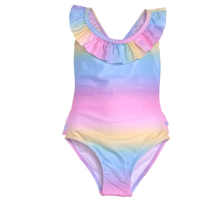 Flap Happy- Rainbow Ombre Ruffle Bottom Swimsuit w/UPF 50+
