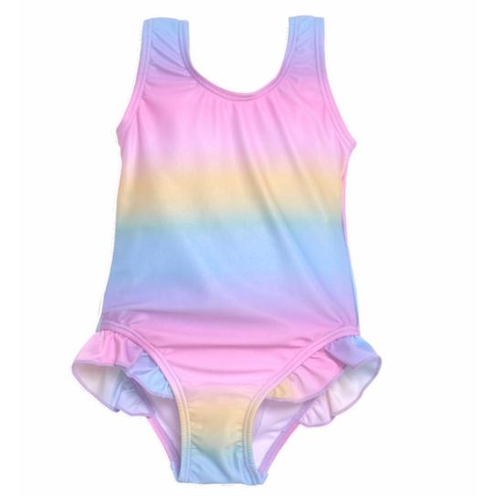 Flap Happy- Rainbow Ombre Hip Ruffle Tank Swimsuit w/UPF50+