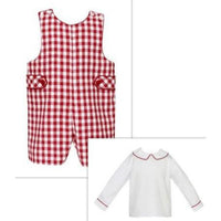 Claire & Charlie- Red Gingham Shortall w/Matching Shirt