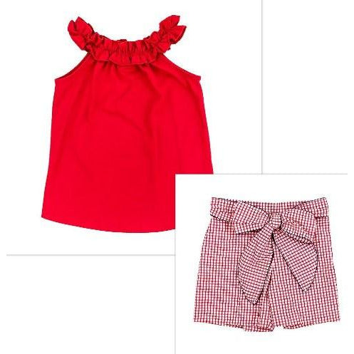 Bailey Boys- Red Windowpane Short Set